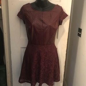 Cranberry leather (look) and lace dress M